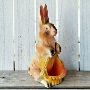 VTG COLORFUL AIRBRUSHED CHALKWARE Plaster EASTER BUNNY w/ BASKET Figurine STATUE