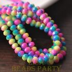New 50pcs 6mm Glass With Color Coated Rondelle Loose Beads Yellow&Rose&Blue