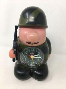 Vintage Rare HASLIN Speak Up - Soldier Alarm Clock Very Nice Condition