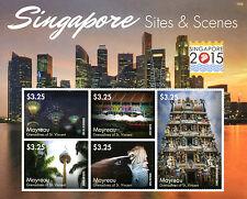 Mayreau Grenadines St Vincent 2015 MNH Singapore 2015 Sites & Scenes 5v M/S
