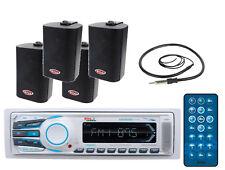 "New MR1308UAB Yacht MechlessMP3 Bluetooth Radio+FOUR 3-Way 200W Box Spkrs+45""Ant"