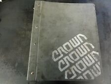 Crown Lift Trucks RR RS RD RC SC  Maintenance Manual