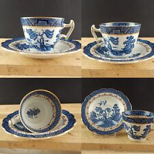 ANTICO REAL OLD WILLOW BOOTHS SET TAZZA CAFFÈ PORCELLANA INGLESE BIANCO BLU
