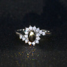 Elegant 925 Silver Wedding Oval Cut Zircon Jewelry Promise Ring Size L N P R T