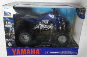 New-Ray 42833A Yamaha YFZ 450 ATV In Blue - Model Toy - 1:12 Scale Die-Cast