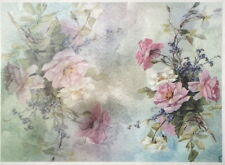 Rice Paper for Decoupage, Scrapbook Sheet, Painted pink roses