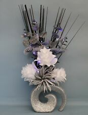 HANDMADE ARTIFICIAL SILK WHITE/ SILVER FLOWERS LED LIGHTS IN SILVER GLITTER VASE
