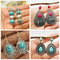 Trendy Boho 925 Silver Turquoise Gemstone Drop Dangle Hooks Earrings Jewelry