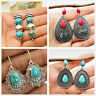 Trendy Boho 925 Silver Turquoise Gemstone Drop Dangle Hooks Earrings Jewelry