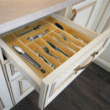 Bamboo Expandable Cutlery Flatware Drawer Utensil Tray Kitchen Organizer Storage