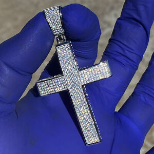 """Men's Real 925 Sterling Silver Cross Hip Hop Pendant Micro Pave Iced Bling 2"""" in"""
