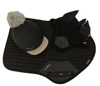 LeMieux Matching Black CC Saddlecloth, Fly Veil and Hat Silk. Full Size