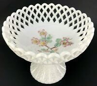 Vintage Candy Bowl Footed White Milk Glass Table Centerpiece Painted Floral