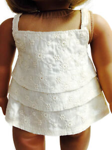 """Ecru Eyelet Tank Top Shirt Blouse made for 18"""" American Girl Doll Clothes"""