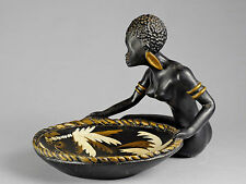 GRAND PLAT SUPERBE FEMME AFRICAINE SEINS NUS VINTAGE RETRO FIFTIES AFRICANISME