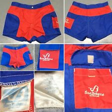 "Vintage Sea Breeze Of Hawaii Shorts Size 32 30"" Waist Color Block 80s Red Blue"