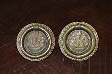 Antique Pair French Bronze Ornate Ring Drawer Pulls
