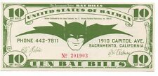 1966 Ten Bat Bills Batman Currency Note from the Sacramento Union 9 +