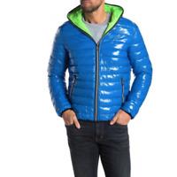 Noize Mens Royal Blue Finn Puffer Full Zip Lightweight Hooded Jacket Size Medium