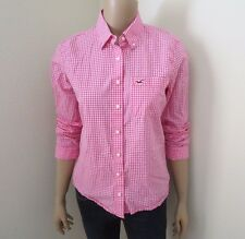 Hollister Womens Plaid Shirt Size Medium Top Blouse Pink & White