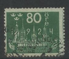 Sweden 1924 UPU Congress 80o myrtle green--Attractive Topical (208) used