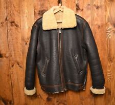 BRITISH WW2 ARMY B3 VTG SHEARLING BOMBER PILOT WINTER LEATHER WARM JACKET L-42