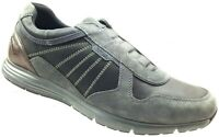 GEOX Respira Grey Suede Leather Slip-On Fashion Sneakers Mens Shoes Sz 12.5 /46