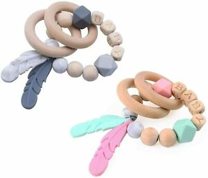 Baby Rattle Teething Bracelet Soft Silicone Feather Pendant Organic Wooden Beads