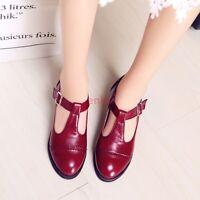 Vintage T-strap Low Heel Brogues Chic Womens Oxfords Shoes Pumps Size US3.5-12.5