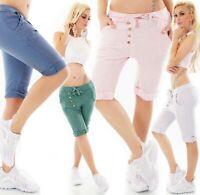 Damen Leinen Capri Bermuda Shorts kurze Hose JogPants Knopfleiste Baggy ITALY