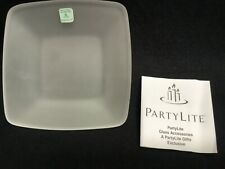 PartyLite Clear Frosted Glass Candle Tray P7268 for Pillar, Votive,Tea-light Nib