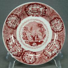 Vintage Petrus Regout Masstricht Oriental Pattern Red Transferware Dessert Plate