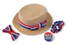Voter Campaign Kit Adult USA Elections Hat Bowtie Button Garter Costume Acc.