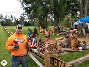 Pair Chainsaw Carved solid cherry wood Wooden Cardinal 2 birds local folk artist