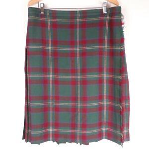 "Vintage Tartan Kilt Womens W 38"" L 26"" Adjustable Waist Edinburgh Woollen Mill"