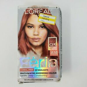 L'Oreal Feria Hair Color Dye CP1 Coral Pink Level 3 Permanent Shimmering