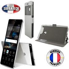 Etui Rabattable Gris Argent Avec Ouverture Ecran pour Huawei P9
