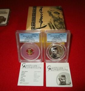 2017 Mongolia Fidel Castro .999 Gold & Silver 2 Coin Proof Set PCGSPR70 Asian