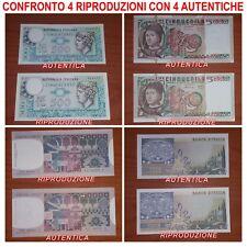 4 RIPRODUZIONI BANCONOTA ITALIANA LIRE MONETA FDS UNC REGALO NATALE SOTTO ALBERO