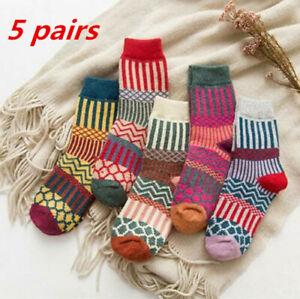 5 Pairs Women Ladies Thick Winter Socks Warm Soft Wool Nordic Novelty Sock UK