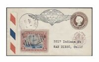 1877 Jhind India Postal Stationery on 1930 US First Flight Cover w/ US sc c11