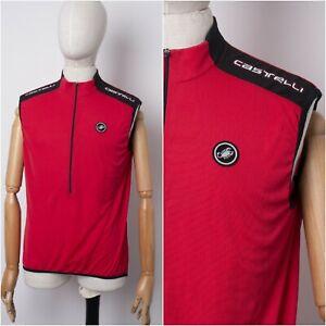 CASTELLI Mens T-Shirt - Cycling Sleeve Less Jersey Full Zip - size XL Vintage