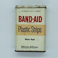 Vintage Band-Aid Empty 27ct. Tin Plastic Strips Plain Pad Johnson & Johnson