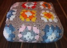 """HANDMADE GRANNY SQUARE AFGHAN  SIZE 36"""" BY 54"""" TAN/WHITE/BLUE/YELLOW/RED/ORANGE"""
