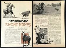 """Calf Roping 1954 Rodeo pictorial """"Fast Horses and Short Rope"""" Champion Baldy"""