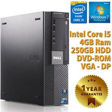 PC Computer Desktop Drive Dell Refurbished Quad Core i5 4GB 250GB Windows 7