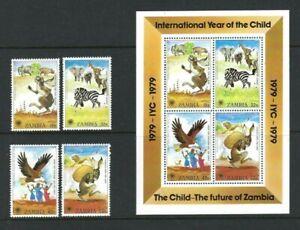 Zambia 1979, International Year of the Child sg287/90 & MS291 MNH
