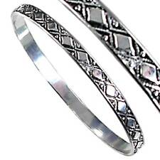 60MM ENGRAVED D'AMOND-SHAPE BANGLE BRACELET_#06-S__925 STERLING SILVER