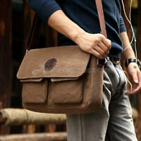 NEW Men's Vintage Canvas Leather Satchel Travel Schoolbag Shoulder Bag Messenger