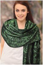 Ladies Pashmina Scarf, Green And Black Colour
